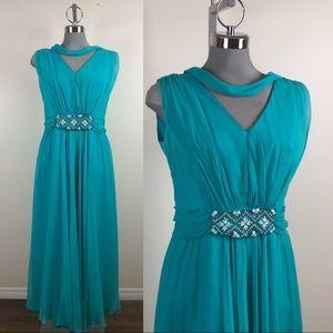Vintage Aqua Chiffon Beaded Maxi Gown 1960s
